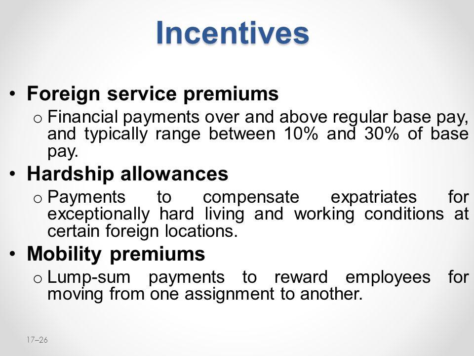 Incentives Foreign service premiums Hardship allowances