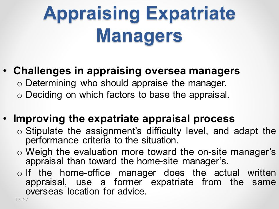 Appraising Expatriate Managers