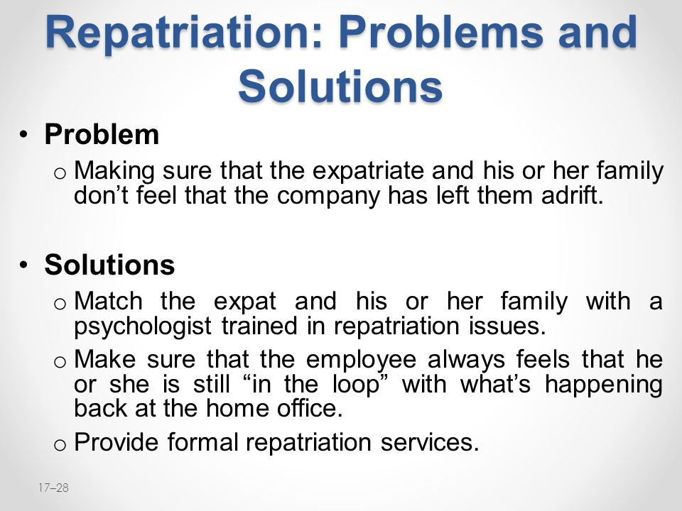 Repatriation: Problems and Solutions