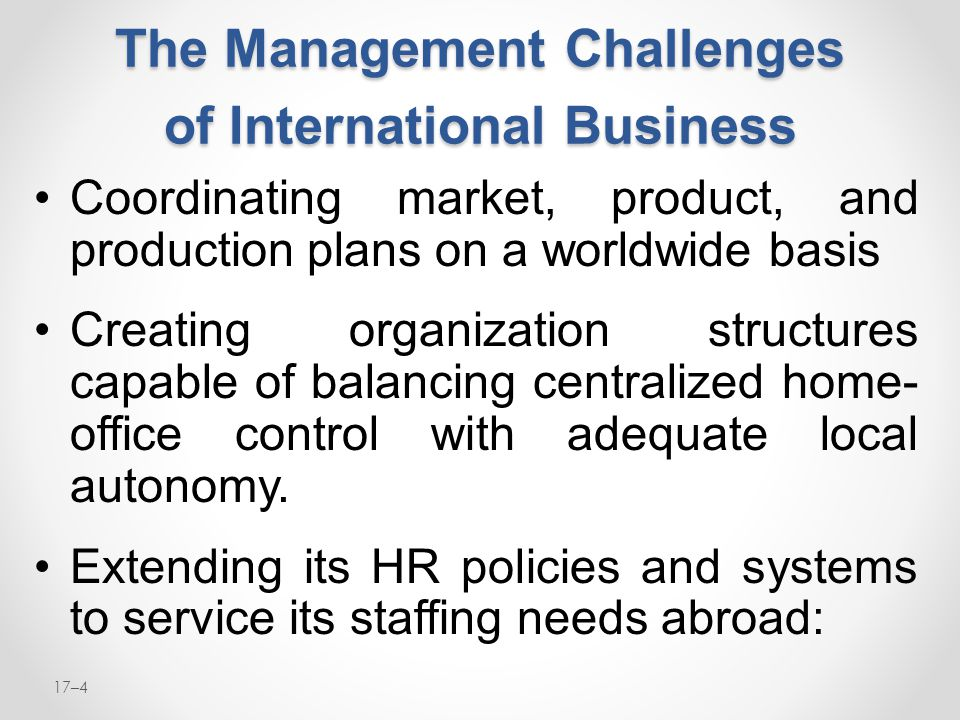 challenges of international business management