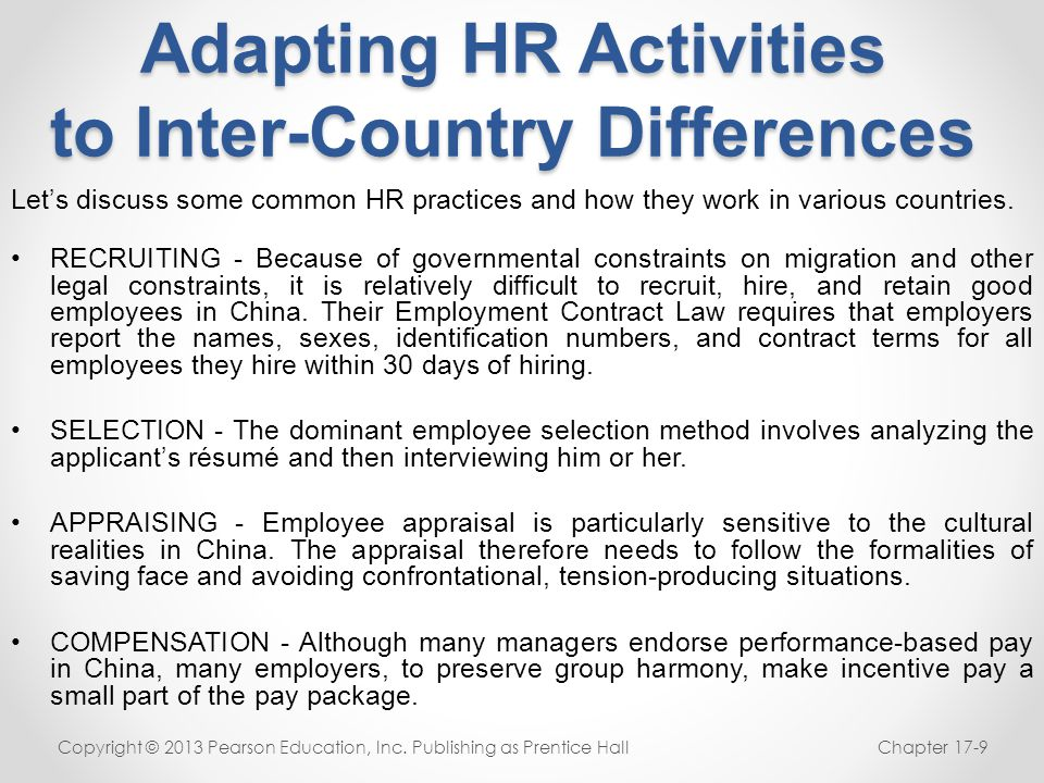 Adapting HR Activities to Inter-Country Differences