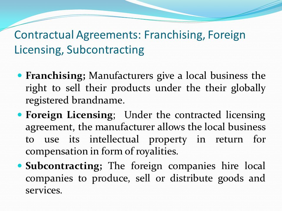 Contractual Agreements: Franchising, Foreign Licensing, Subcontracting
