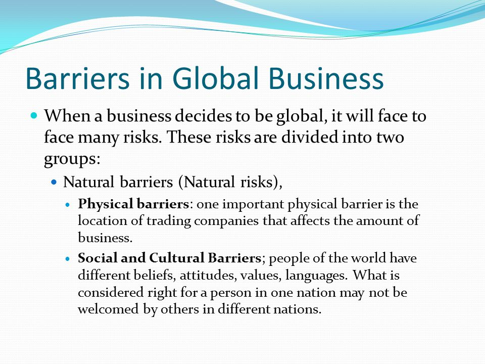 Barriers in Global Business