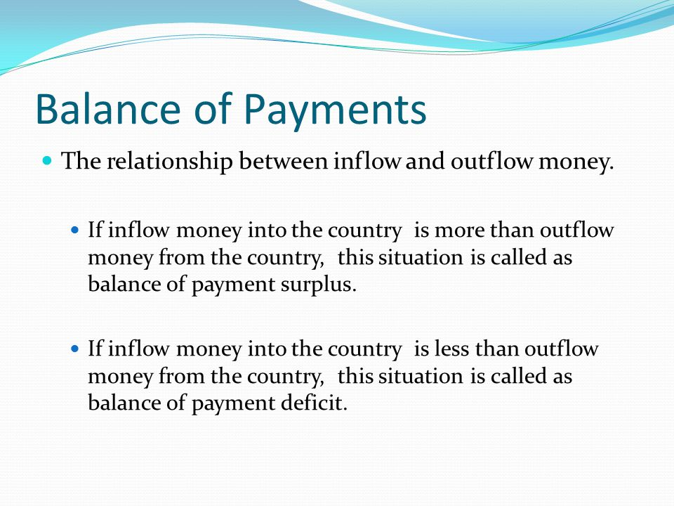 Balance of Payments The relationship between inflow and outflow money.