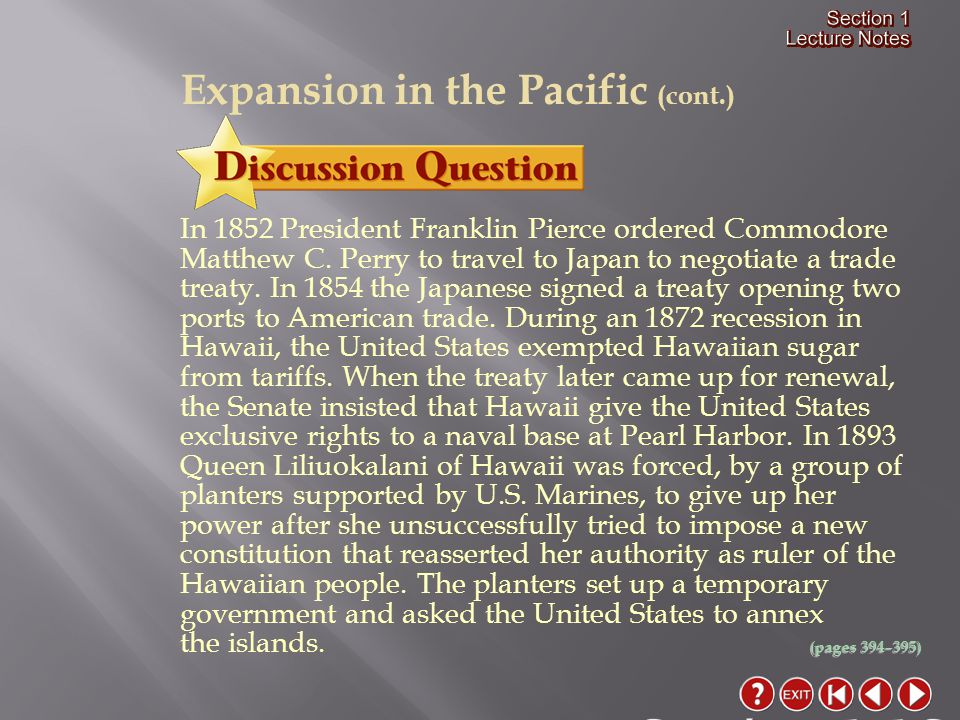 Section 1-16 Expansion in the Pacific (cont.)