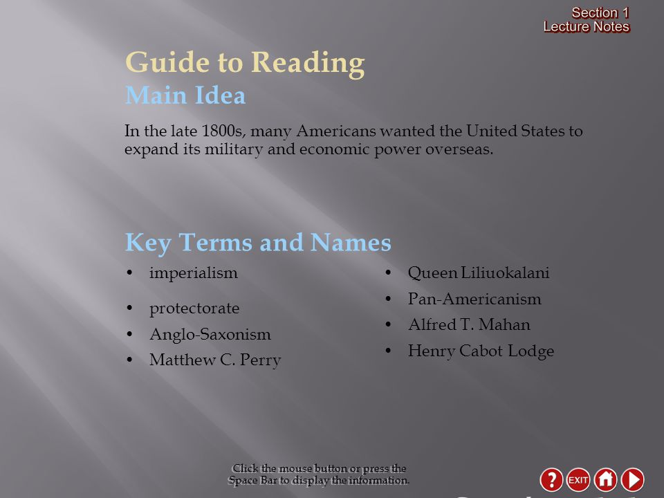 Section 1-1 Guide to Reading Main Idea Key Terms and Names