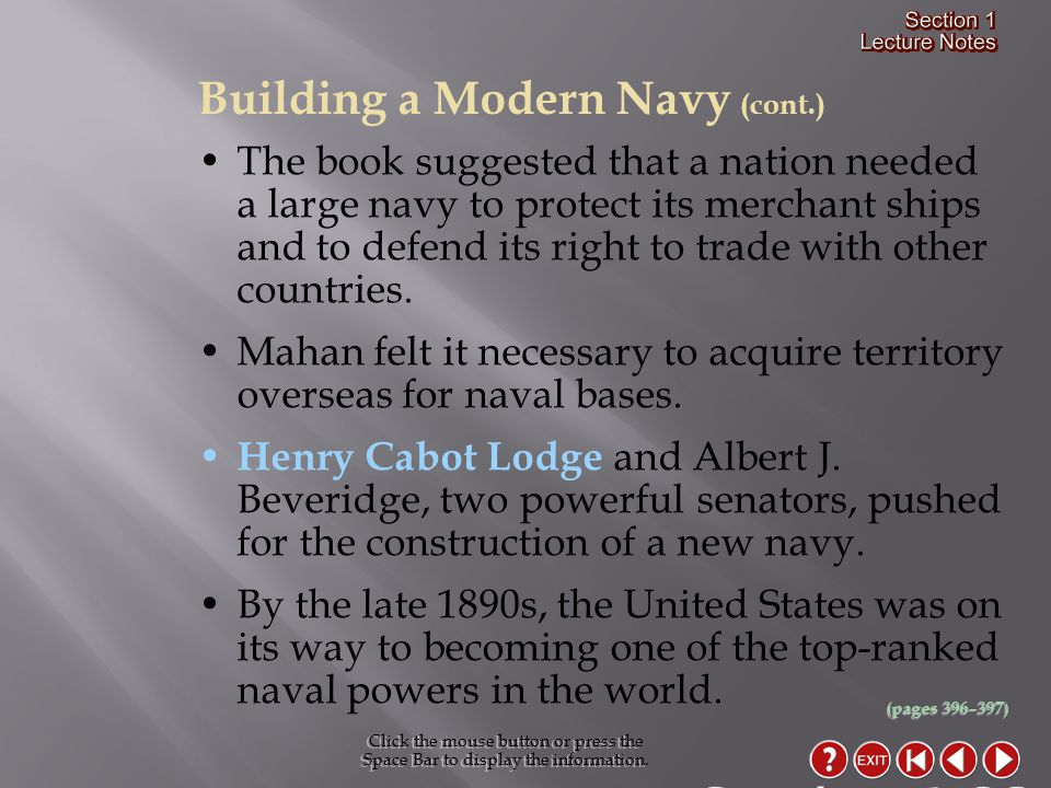 Section 1-23 Building a Modern Navy (cont.)