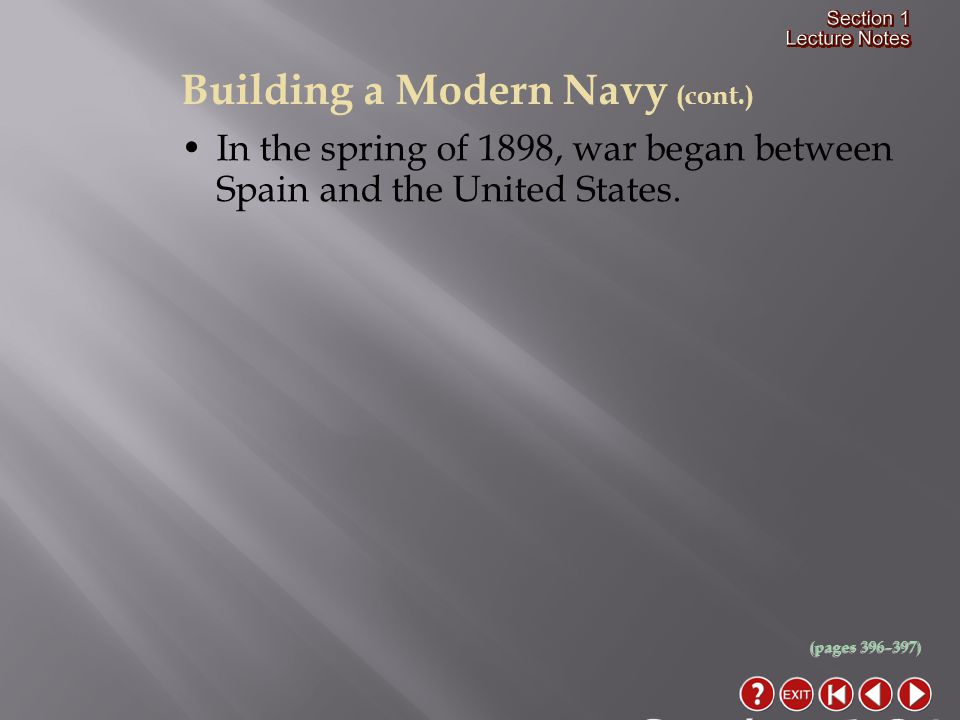Section 1-24 Building a Modern Navy (cont.)