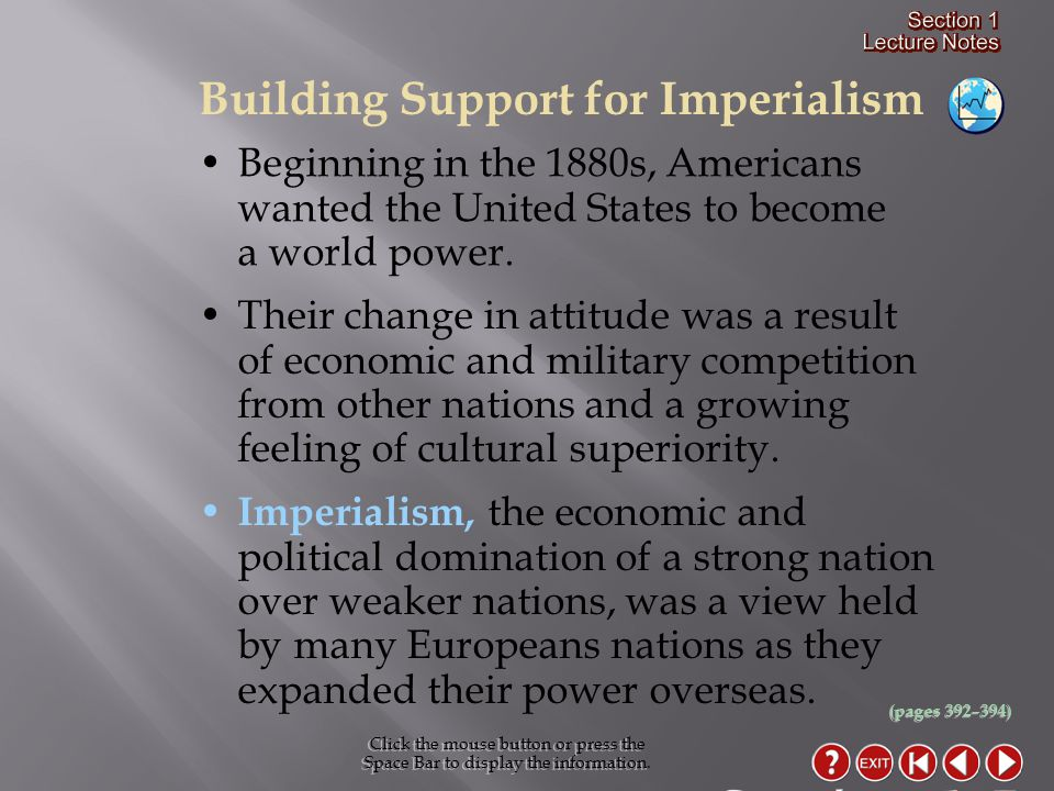 Section 1-5 Building Support for Imperialism