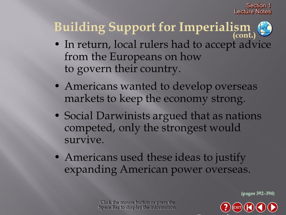 Section 1-7 Building Support for Imperialism