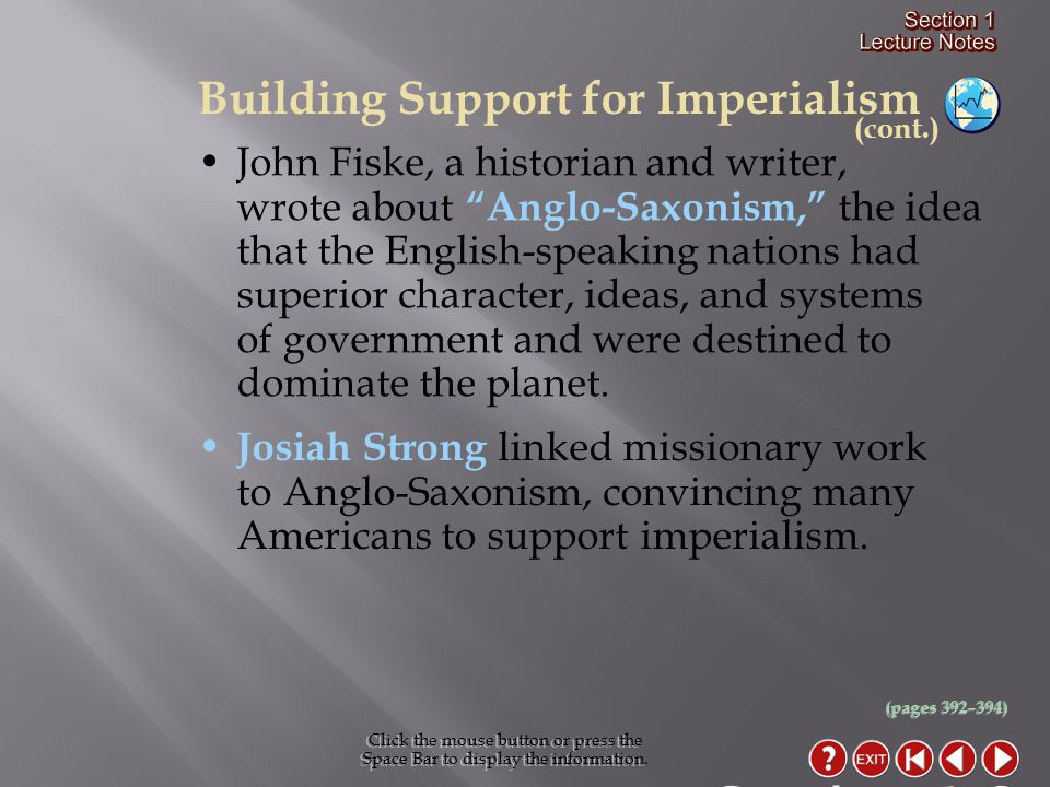 Section 1-8 Building Support for Imperialism