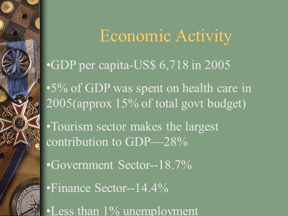 Economic Activity GDP per capita-US$ 6,718 in 2005