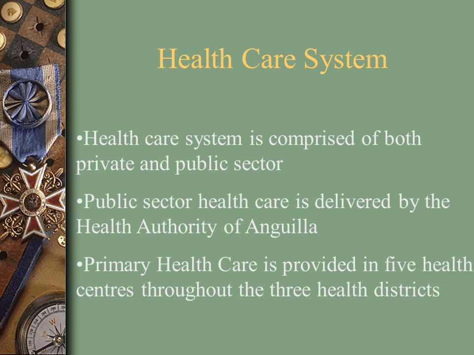 Health Care System Health care system is comprised of both private and public sector.