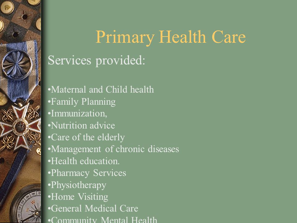 Primary Health Care Services provided: Maternal and Child health