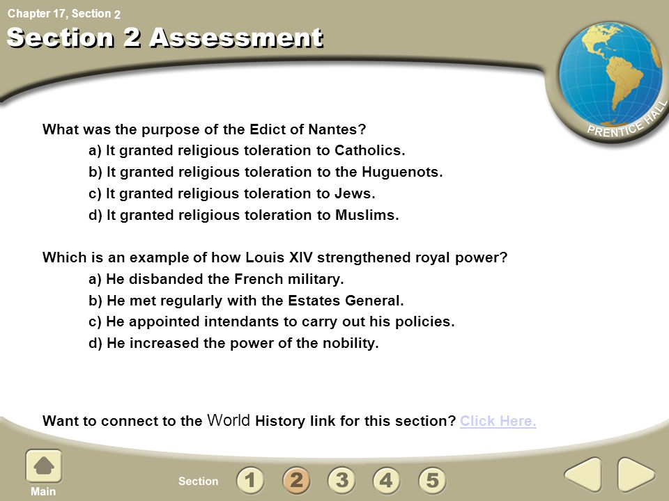 Section 2 Assessment What was the purpose of the Edict of Nantes
