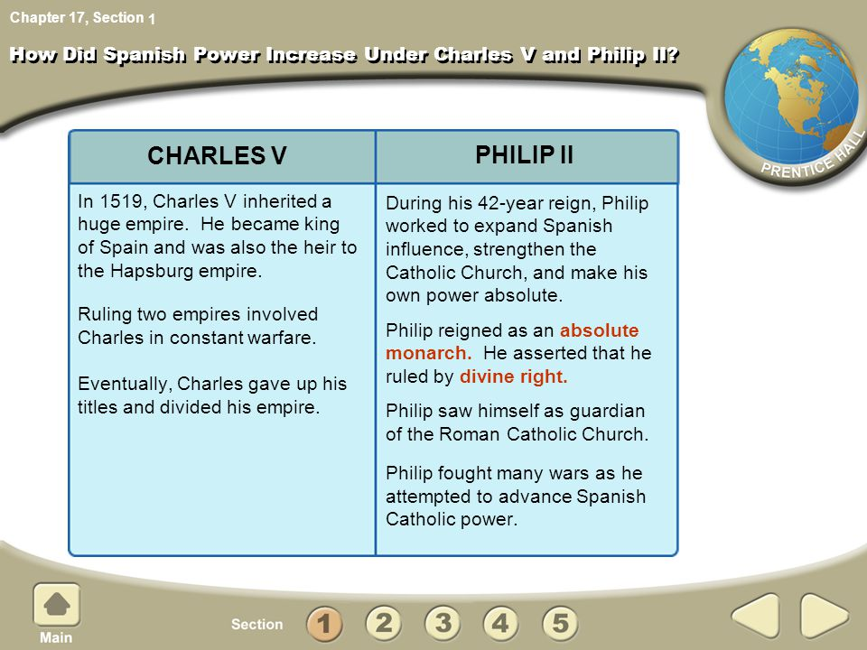 How Did Spanish Power Increase Under Charles V and Philip II