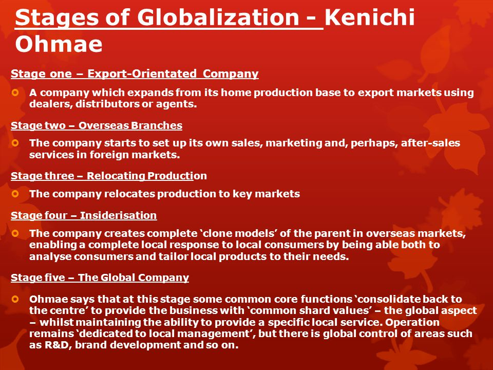 Stages of Globalization - Kenichi Ohmae