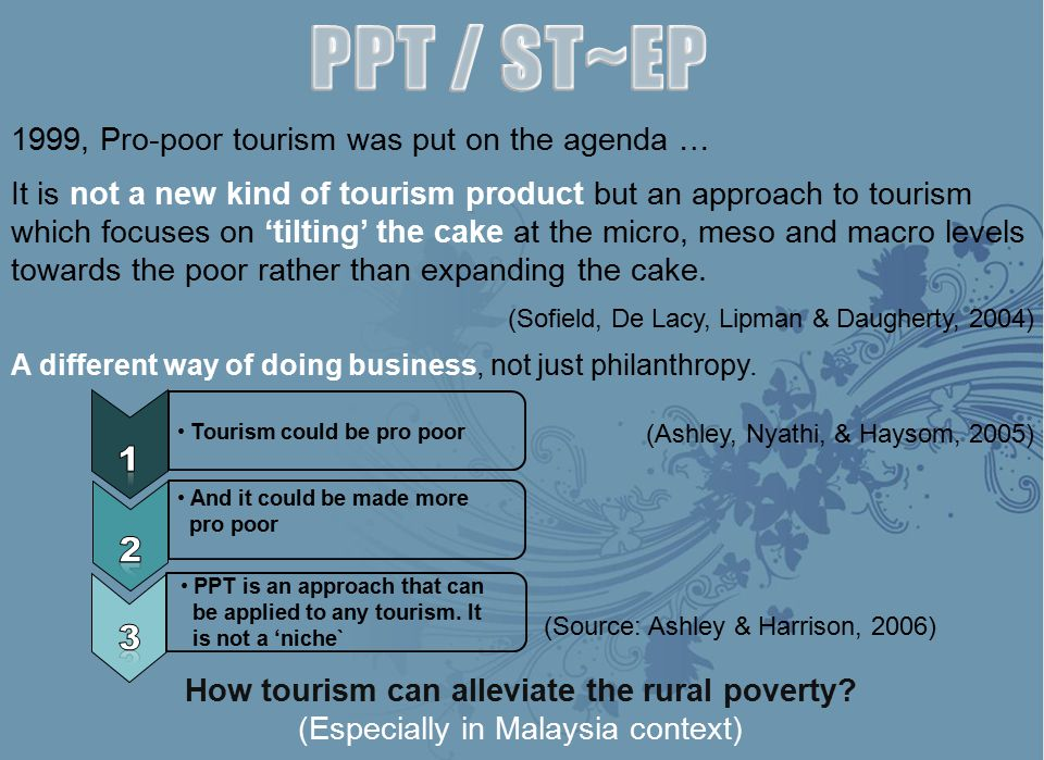 PPT / ST~EP 1 2 3 1999, Pro-poor tourism was put on the agenda …