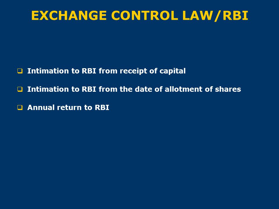 EXCHANGE CONTROL LAW/RBI