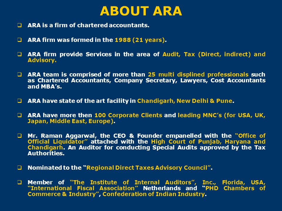 ABOUT ARA ARA is a firm of chartered accountants.