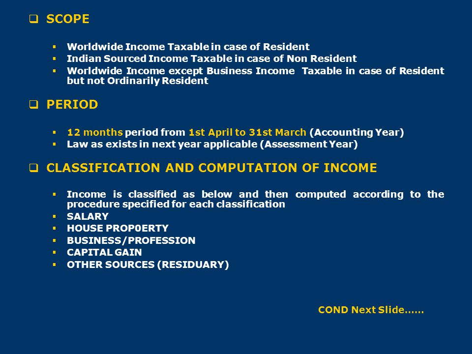 CLASSIFICATION AND COMPUTATION OF INCOME