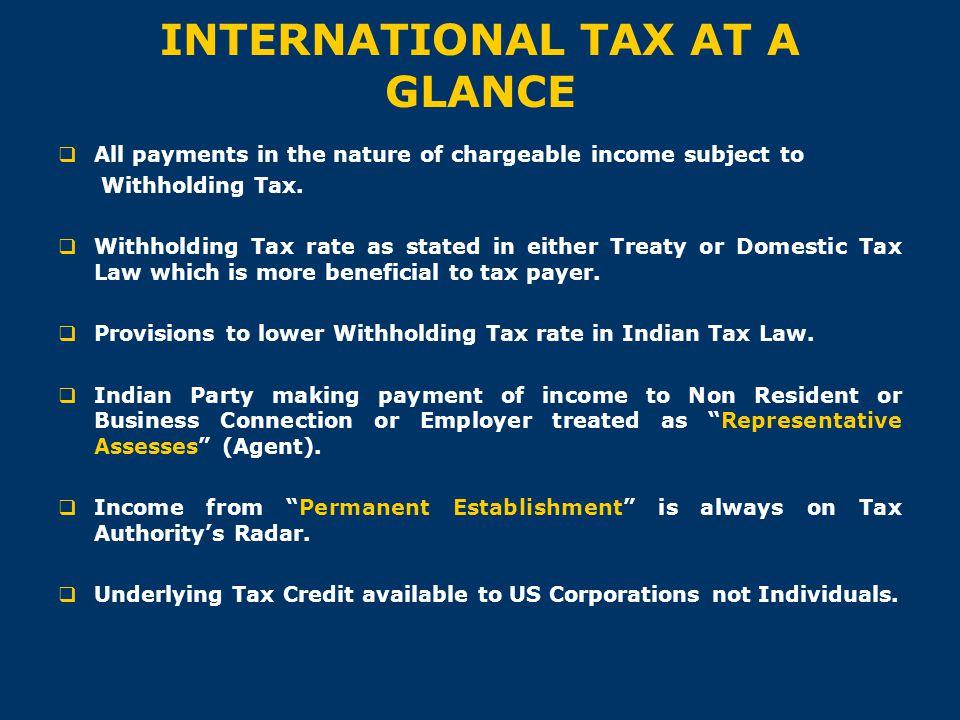 INTERNATIONAL TAX AT A GLANCE