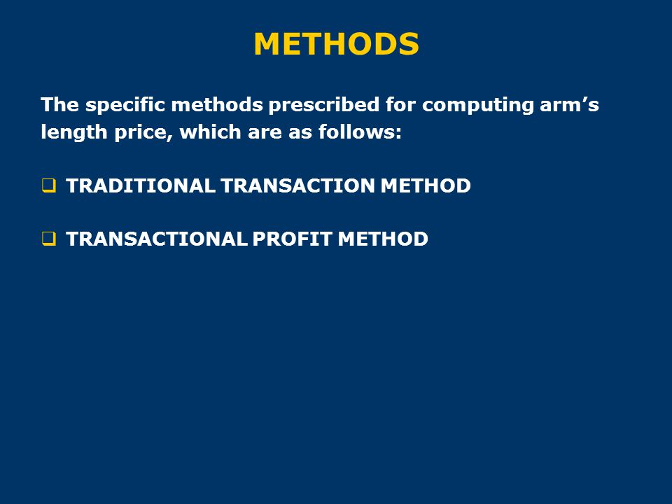 METHODS The specific methods prescribed for computing arm's