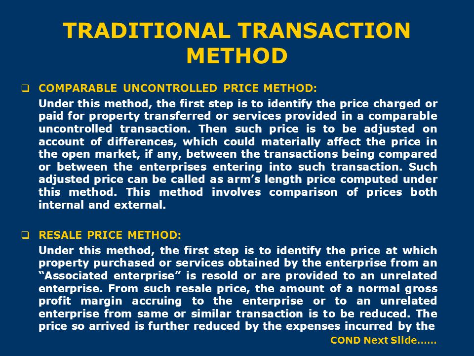 TRADITIONAL TRANSACTION METHOD