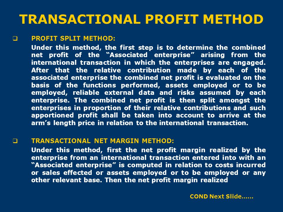 TRANSACTIONAL PROFIT METHOD