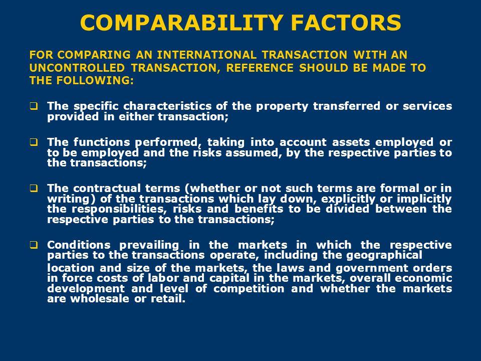 COMPARABILITY FACTORS