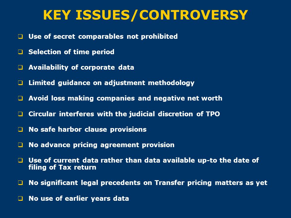 KEY ISSUES/CONTROVERSY