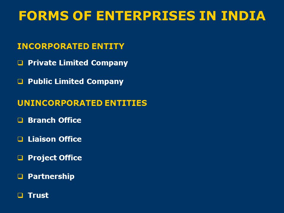 FORMS OF ENTERPRISES IN INDIA