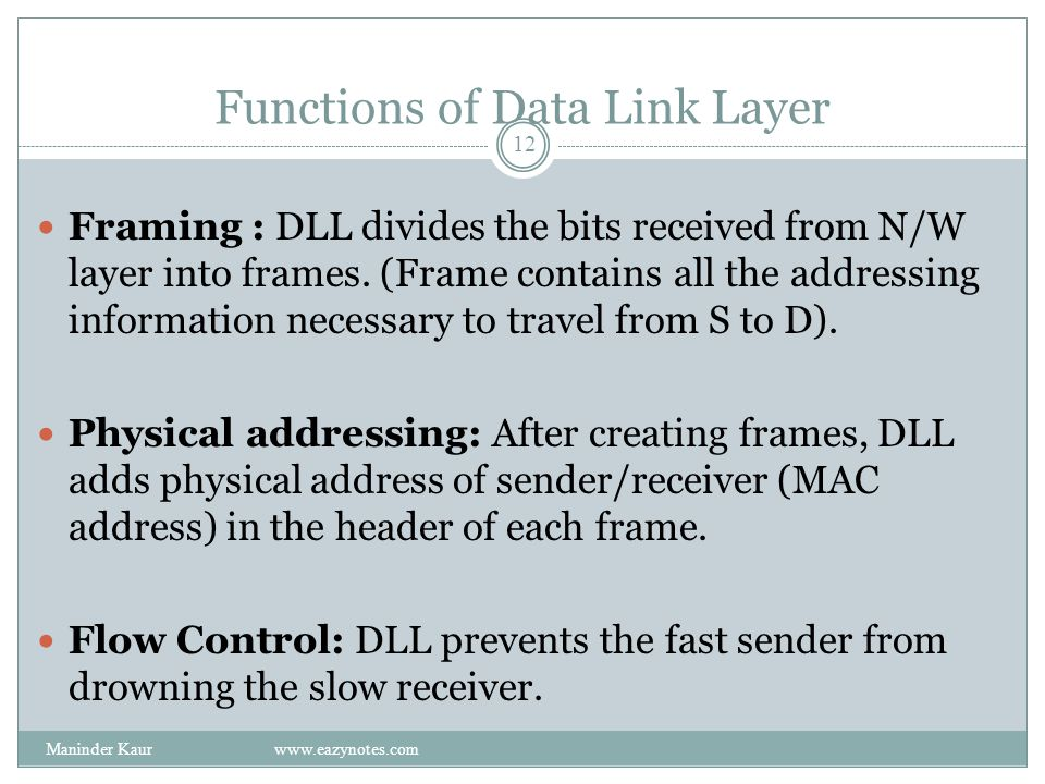 Functions of Data Link Layer