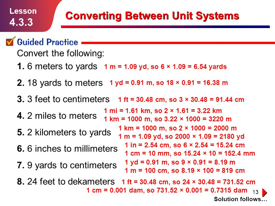 13 Converting Between Unit Systems