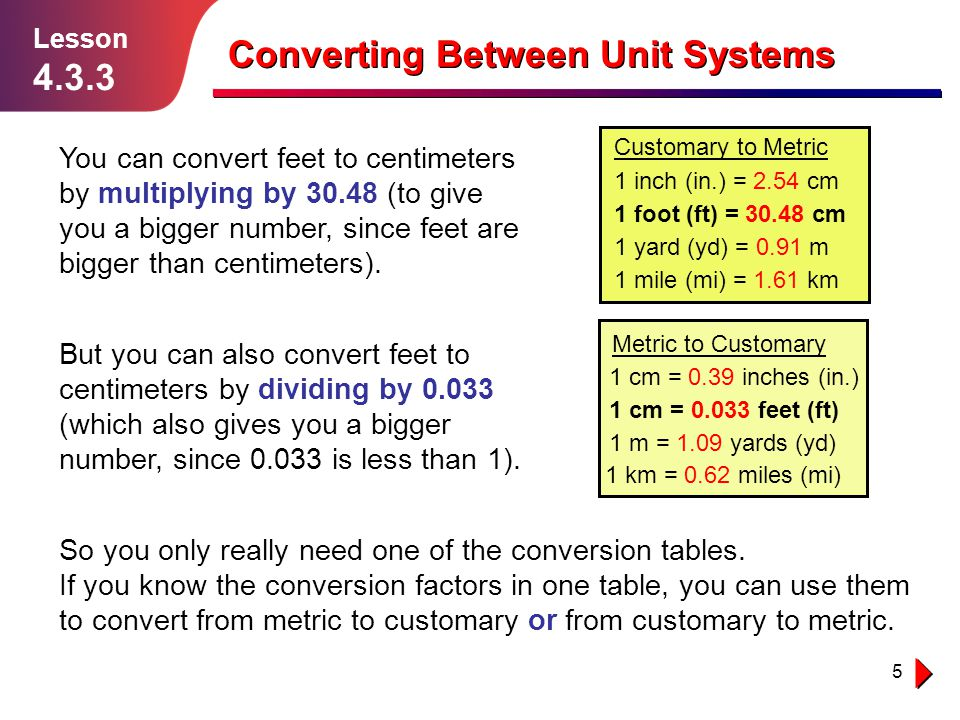 5 Converting Between Unit Systems