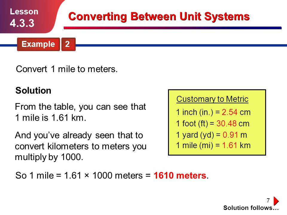 Converting between unit systems ppt download - Convert miles to kilometers table ...