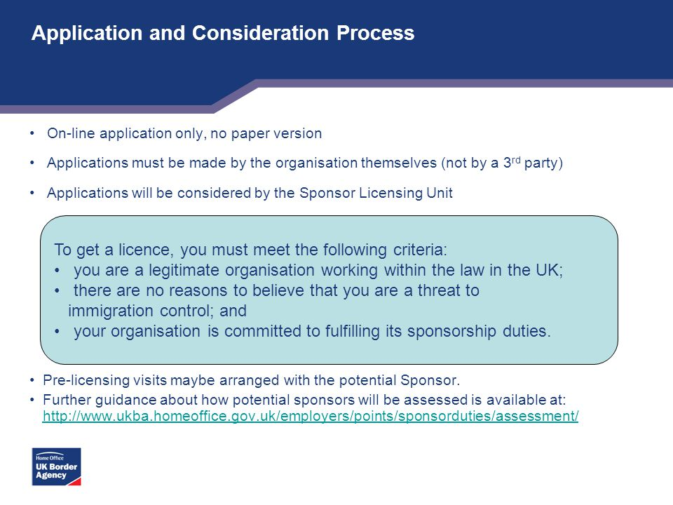 Application and Consideration Process