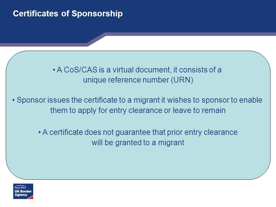 Certificates of Sponsorship