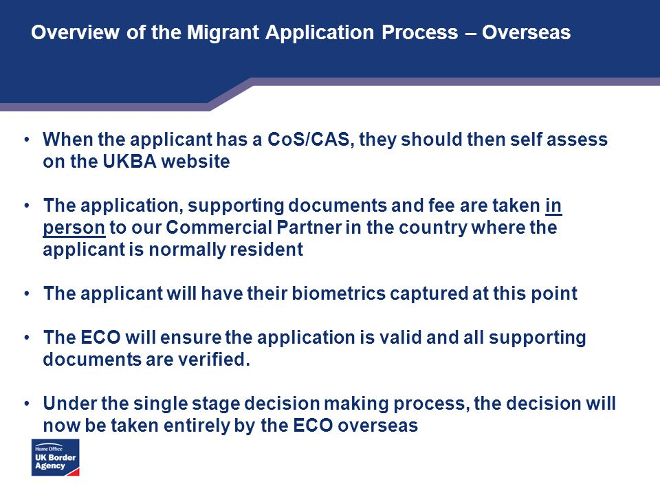 Overview of the Migrant Application Process – Overseas