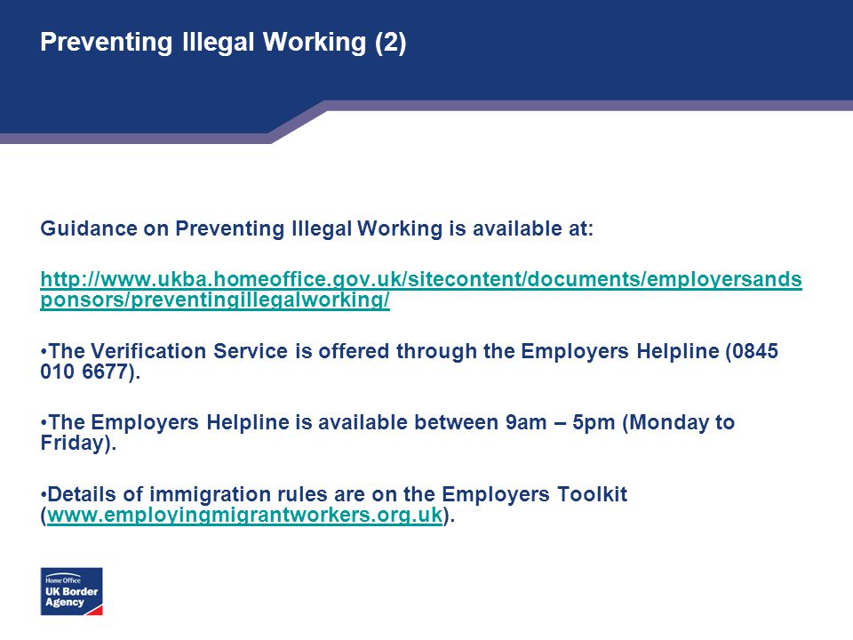 Preventing Illegal Working (2)