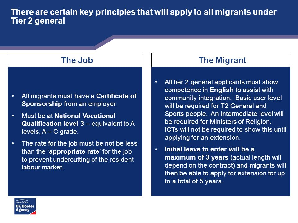 There are certain key principles that will apply to all migrants under Tier 2 general