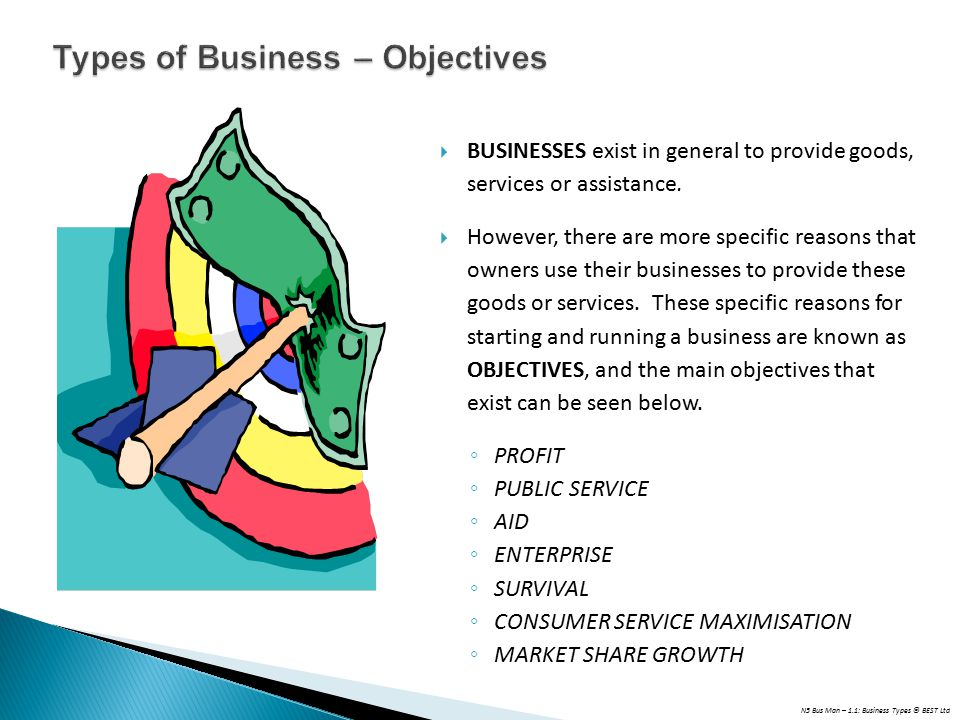 Types of Business – Objectives