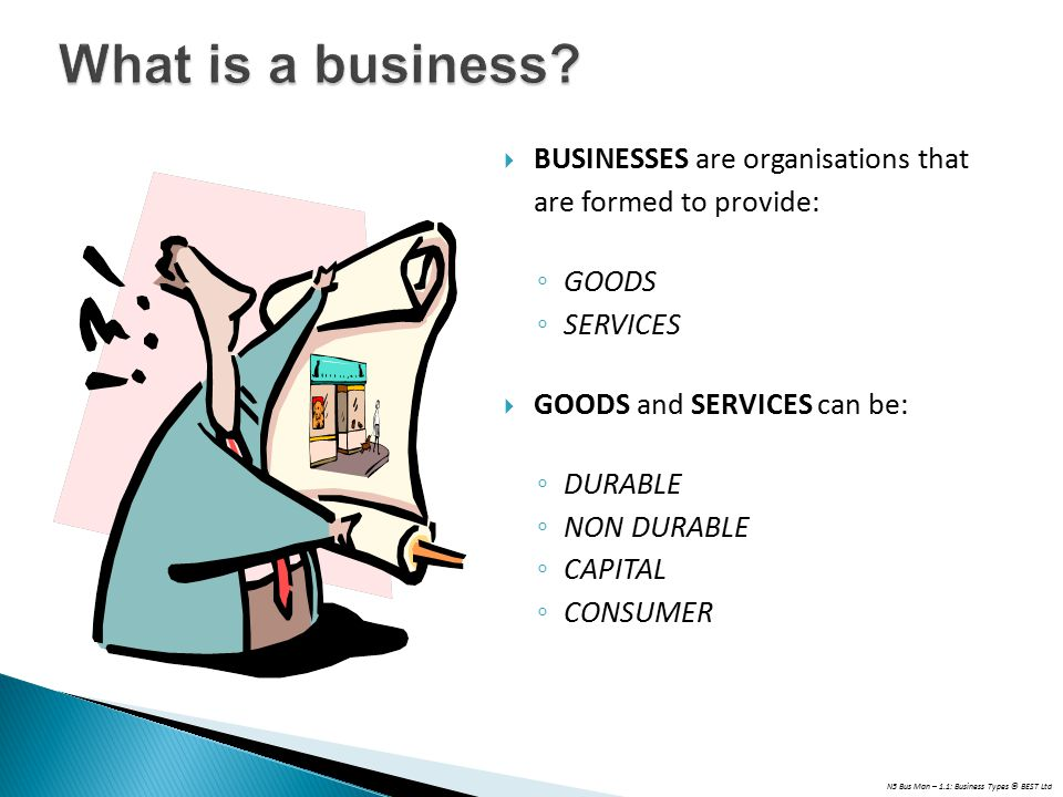 What is a business BUSINESSES are organisations that are formed to provide: GOODS. SERVICES. GOODS and SERVICES can be: