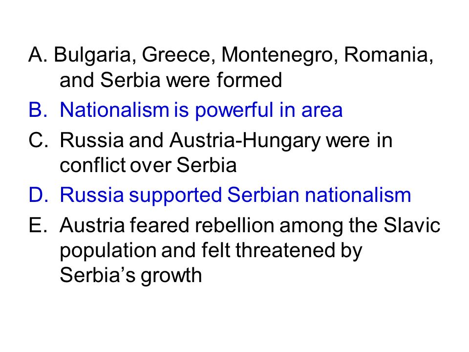 A. Bulgaria, Greece, Montenegro, Romania, and Serbia were formed