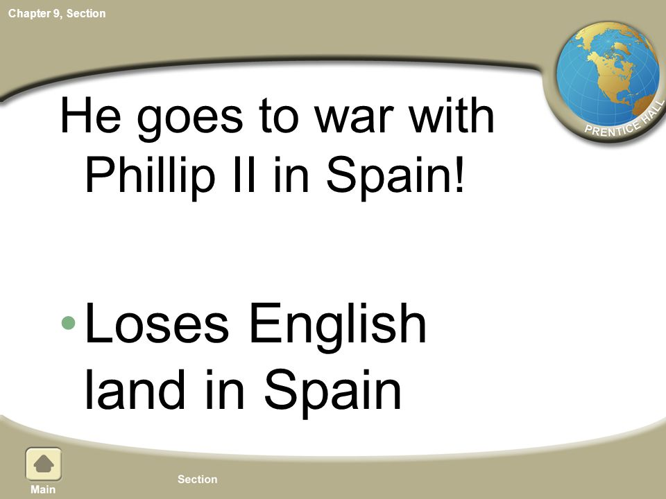 Loses English land in Spain