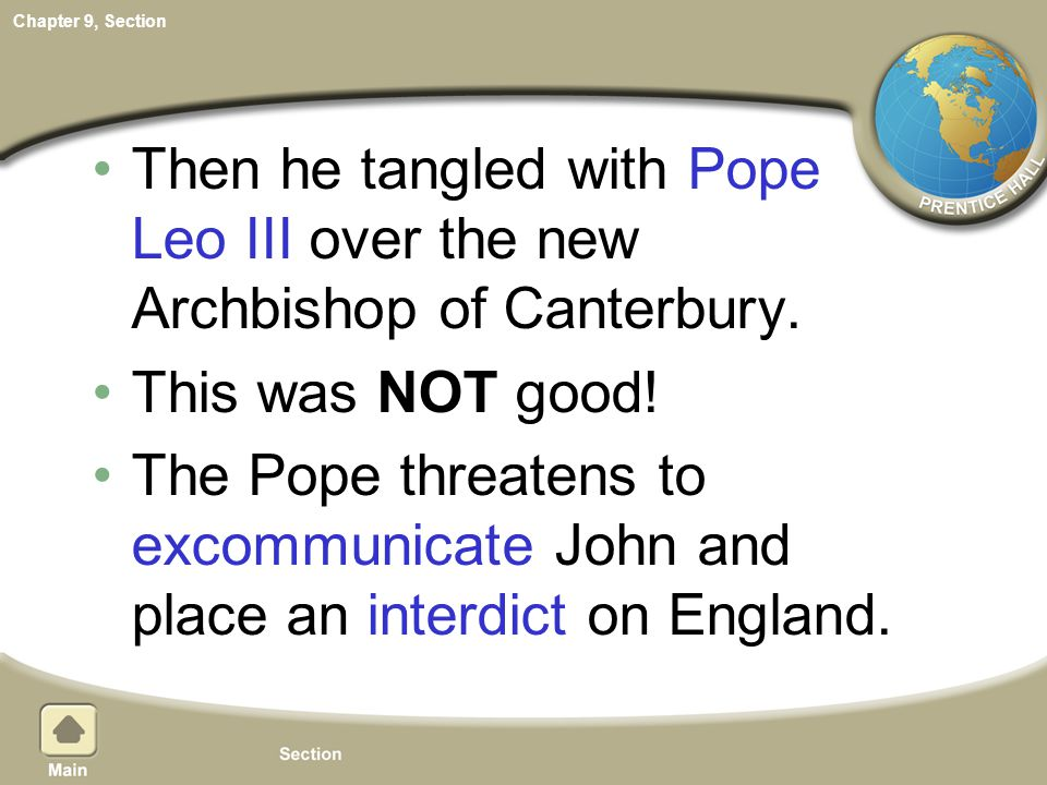 Then he tangled with Pope Leo III over the new Archbishop of Canterbury.