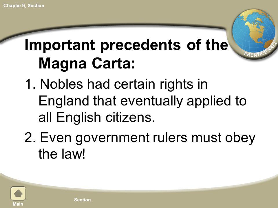 Important precedents of the Magna Carta: