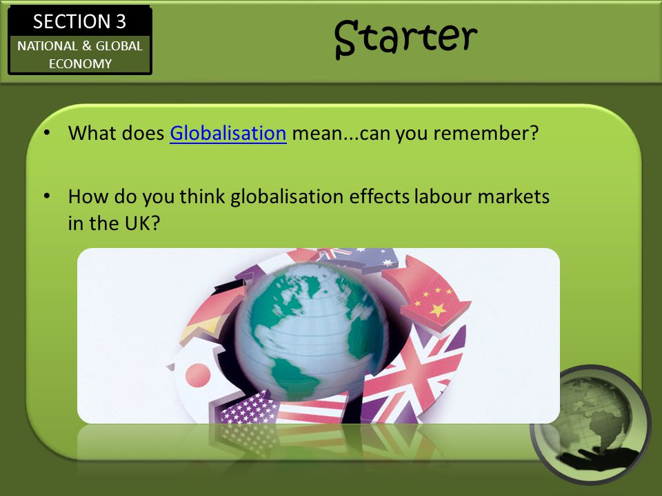 Starter What does Globalisation mean...can you remember