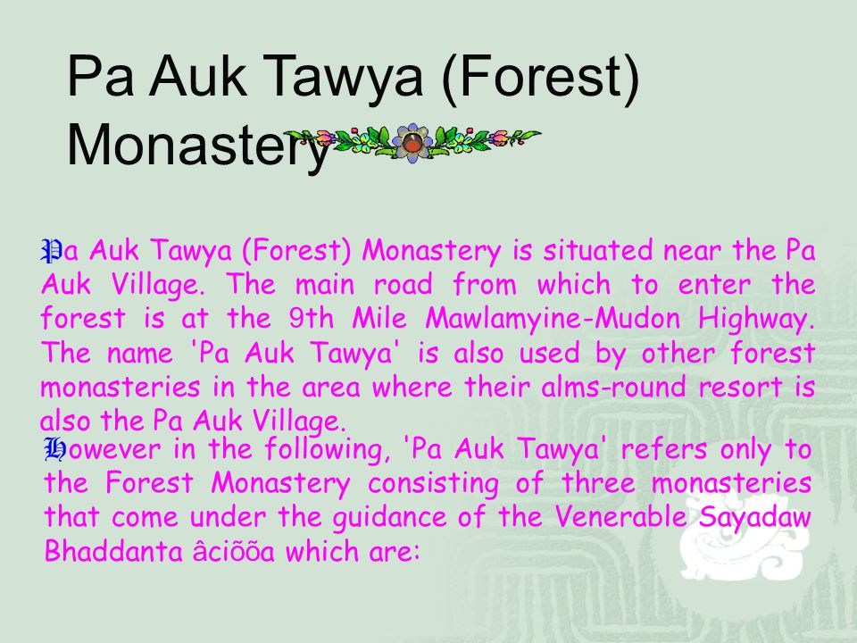 Pa Auk Tawya (Forest) Monastery