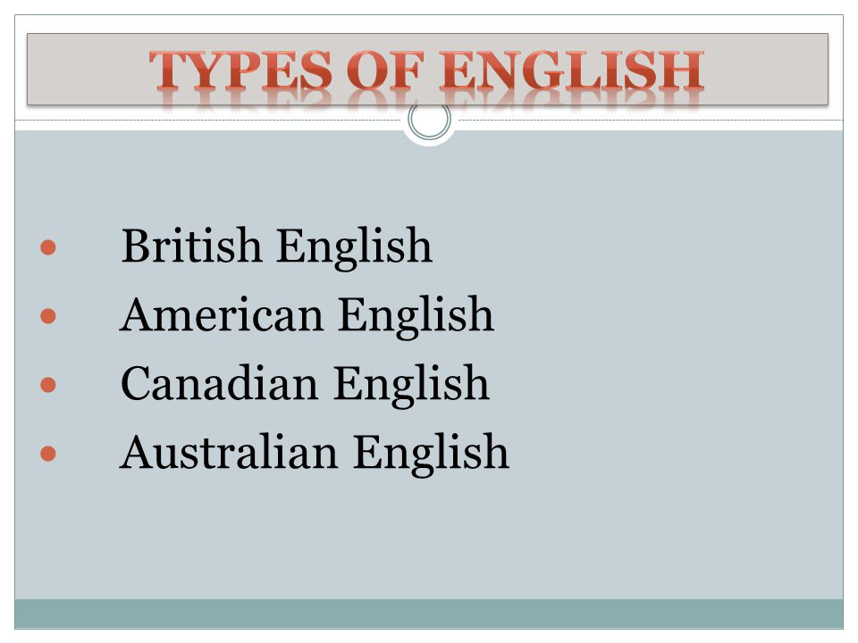 Types of English British English American English Canadian English
